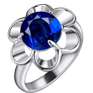 Jewelry - 🆕925 Silver Blue Flower Ring